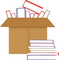 box full of books clipart